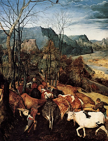 The Return of the Herd [detail] by Pieter the Elder Bruegel